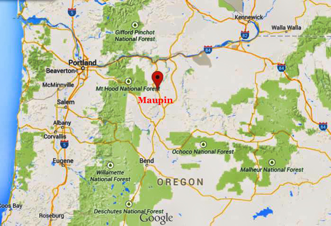 Maupin Oregon Map Maupin is in The Oregon High